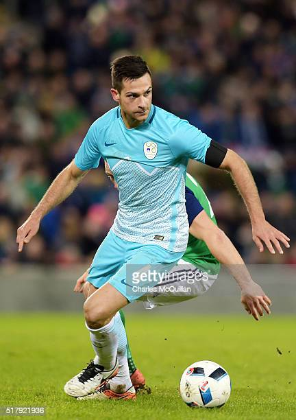 Samardzic Miral of Slovenia during the international friendly between Northern Ireland and Slovenia at Windsor Park on March 28 2016 in Belfast...