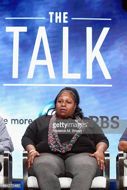 Samaria Rice speaks onstage during 'The Talk ' panel discussion at the PBS portion of the 2016 Television Critics Association Summer Tour at The...