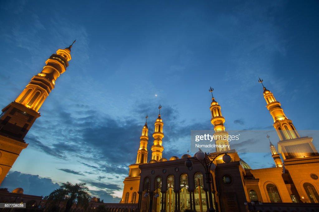 Samarinda Islamic Center illuminated night photography : Stock Photo