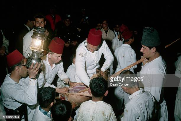 Samaritans gather on Mount Gerizim in the spring at Passover to slay lambs and roast them over a fire as an offering to God Near Nabulus Samaria...
