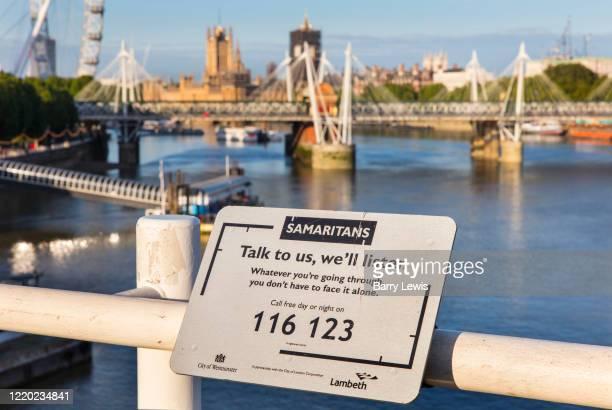 Samaritans helpline on Waterloo Bridge over the River Thames on 15th June 2020 in London, United Kingdom. Teams of volunteers are to patrol Waterloo...