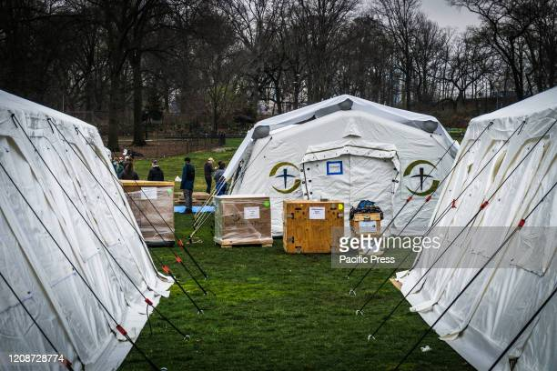 Samaritan's Purse an Evangelical Christian humanitarian relief organization setup a makeshift hospital respiratory care unit in Central Park for...