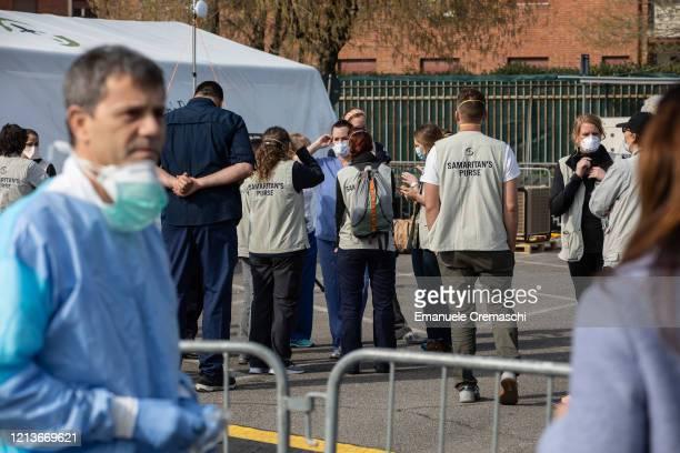 Samaritan's Purse personnel gather at a Samaritan's Purse Emergency Field Hospital on March 20 2020 in Cremona near Milan Italy Samaritan's Purse is...