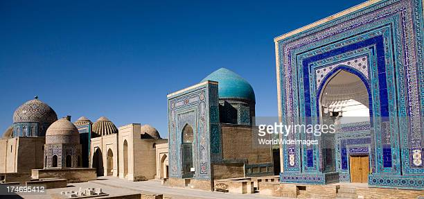 samarkand, the avenue of tombs-shahr-i-zindah - oezbekistan stockfoto's en -beelden