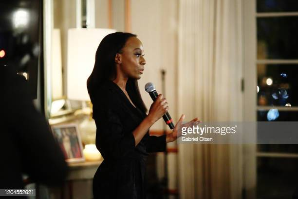 Samata gives speech during Red Carpet Green Dress at the Private Residence of Jonas Tahlin CEO of Absolut Elyx on February 06 2020 in Los Angeles...