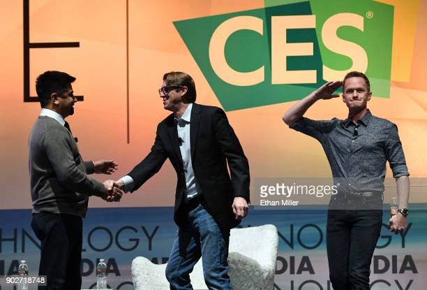 Samb TV CEO Ashwin Navin greets The IAm App CEO Cody Willard and actor and IAm App ambassador Neil Patrick Harris during a press event for CES 2018...