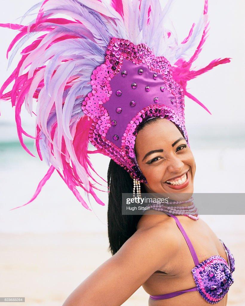 Samba Dancer at Beach : Stock Photo