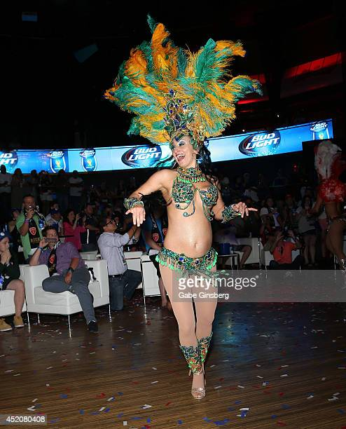 Samba dancer performs at the FIFA World Cup Final Bud Light and Budweiser VIP Party at Rain Nightclub inside The Palms Casino Resort on July 12 2014...