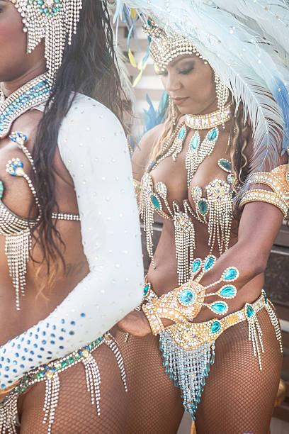 Samba dancers getting ready, Rio De Janeiro, Brazil