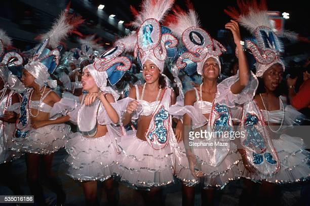 Samba dancers participate in a parade during Brazil's Carnival festivities | Location Sambodromo Rio de Janeiro Brazil