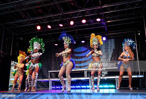 Samba dancers perform during Team USA's Road to Rio Tour presented by Liberty Mutual on April 27 2016 in New York City The event marks 100 days until...