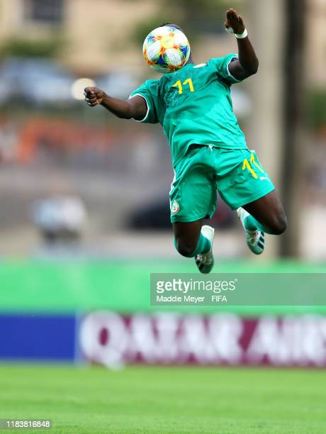 Samba Diallo of Senegal wins the ball out of the air during the Group D Match between USA and Senegal in the FIFA U17 World Cup Brazil 2019 at...
