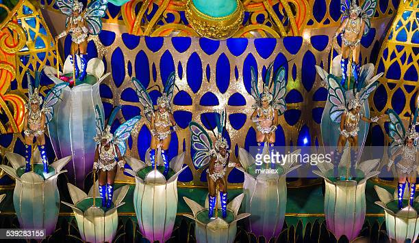 samba parade float in sambadromo, rio de janeiro, brazil - mardi gras float stock pictures, royalty-free photos & images