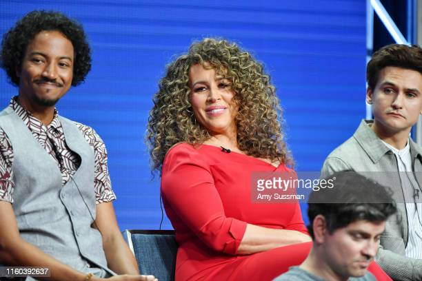 Samba Schutte Diana Maria Riva and Moses Storm of Sunnyside speak during the NBC segment of the 2019 Summer TCA Press Tour at The Beverly Hilton...