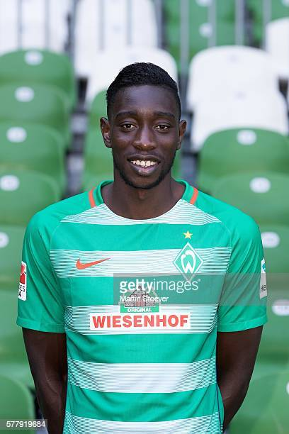 Sambou Yatabare poses during the offical team presentation of Werder Bremen on July 20 2016 in Bremen Germany