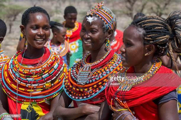Samburu Tribes women in traditional clothing at a Samburu village near Samburu National Reserve in Kenya