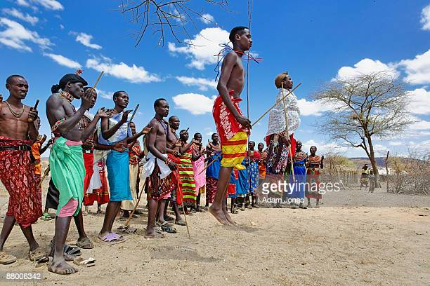 Samburu tribesmen and ritual dancing