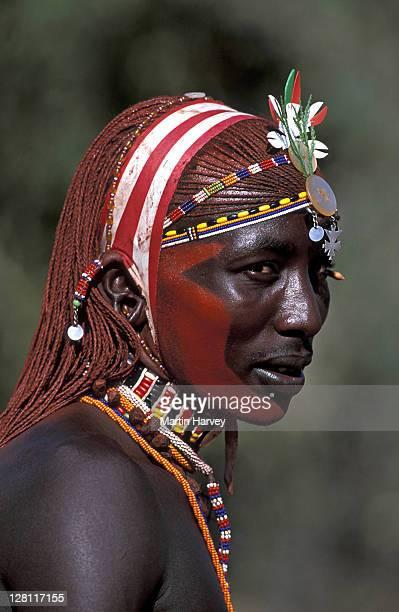 Samburu warrior. Portrait. Samburu area. Kenya.