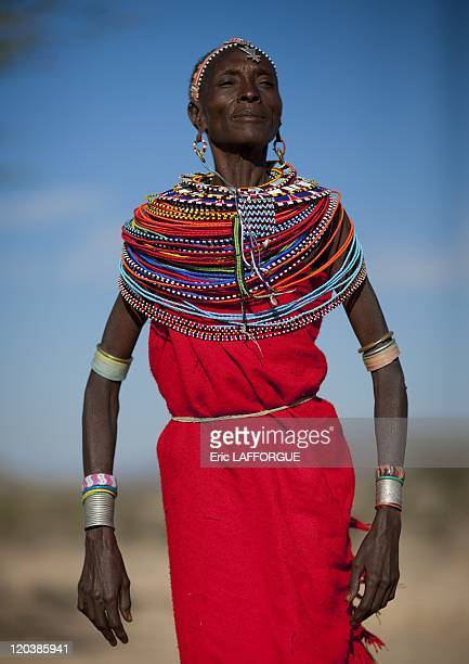 Samburu woman in Kenya on July 13 2009 The Samburu are closely related to the Maasai Like the Maasai they live in the central Rift Valley in Kenya...