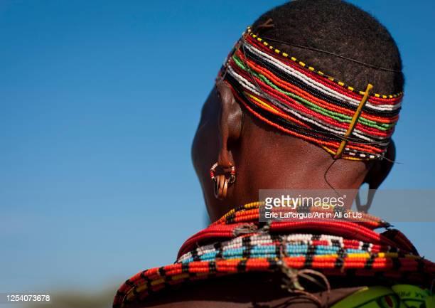 Samburu woman with traditional jewellry, Samburu county, Samburu national reserve, Kenya on July 13, 2009 in Samburu National Reserve, Kenya.