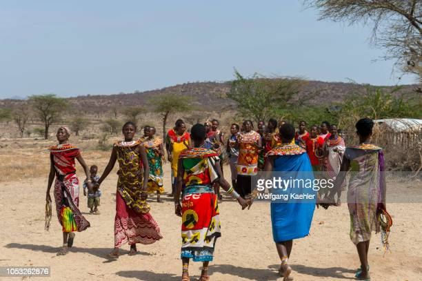Samburu women performing a welcome dance at a Samburu village near Samburu National Reserve in Kenya
