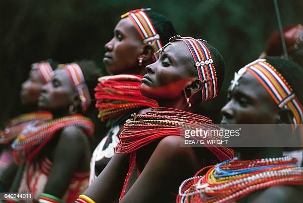 Samburu women wearing typical necklaces and ornaments Kenya