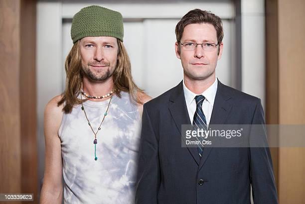same man dressed as hippy and businessman - vergleich stock-fotos und bilder