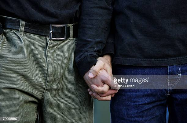 Same sex couple Frank Capley and Joe Alfano hold hands during a same sex marriage rally October 5 2006 in San Francisco A California state appeals...