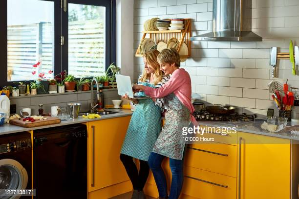 same sex couple using laptop together in kitchen - vintage lesbian photos stock pictures, royalty-free photos & images