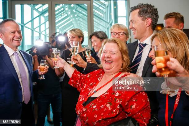 Same Sex Marriage Ambassador Magda Szubanski celebrates with Labor opposition leader Bill Shorten and members of the Labor Party after the Australian...