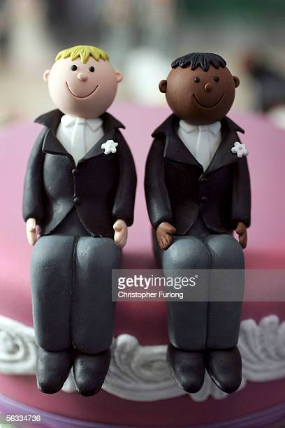 Same sex statues adorn the top of a wedding cake at a wedding specialists store on 5 December 2005 Birmingham England The Civil Partnership Act came...