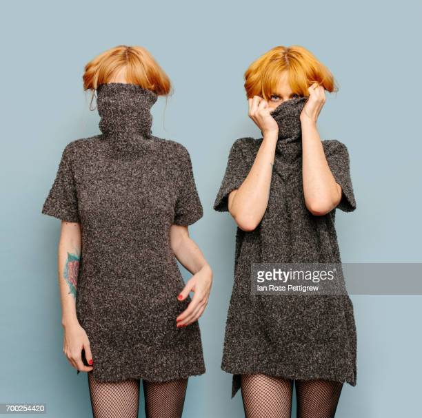 same woman, double exposure - turtleneck stock pictures, royalty-free photos & images