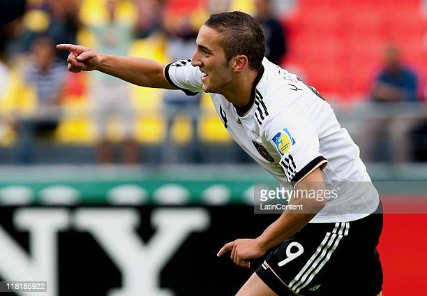 Samed Yesil of Germany celebrates a scored goal during the FIFA U17 World Cup Mexico 2011 Quarter Final match between Germany and England at the...