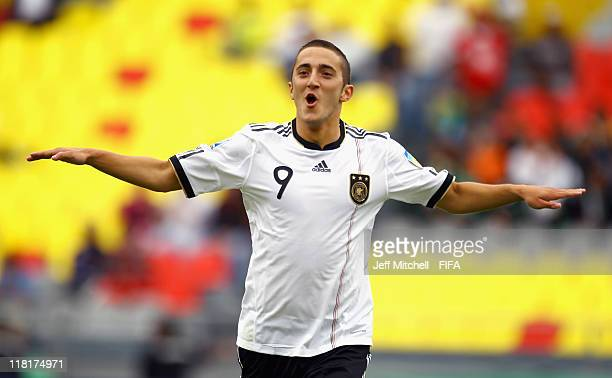 Samed Yesil of Germany celebrates after scoring during the FIFA U17 World Cup quarter final match between Germany and the England at the Morelos...