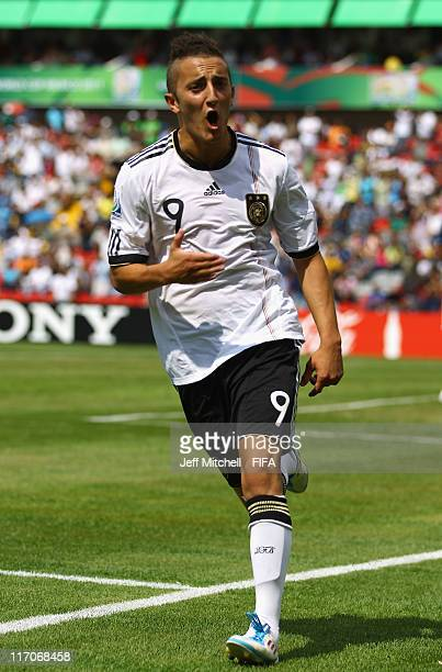 Samed Yesil of Germany celebrates after scoring during the Group E FIFA U17 World Cup match between Germany and Ecuador at the Corregidora Stadium on...
