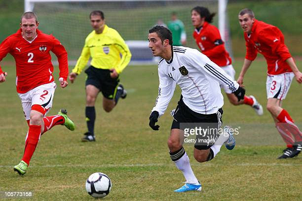 Samed Yesil of Germany fights for the ball with Philipp Posch of Austria during the U17 Euro Qualifier match between Austria and Germany at the...
