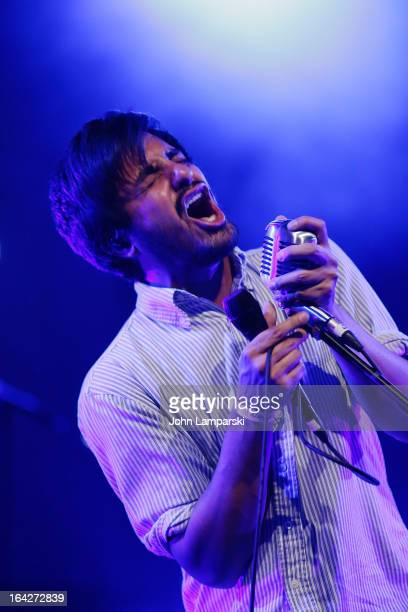 Sameer Gadhia of Young the Giant performs at the BlackBerry Z10 Launch Event at Best Buy Theater on March 21 2013 in New York City