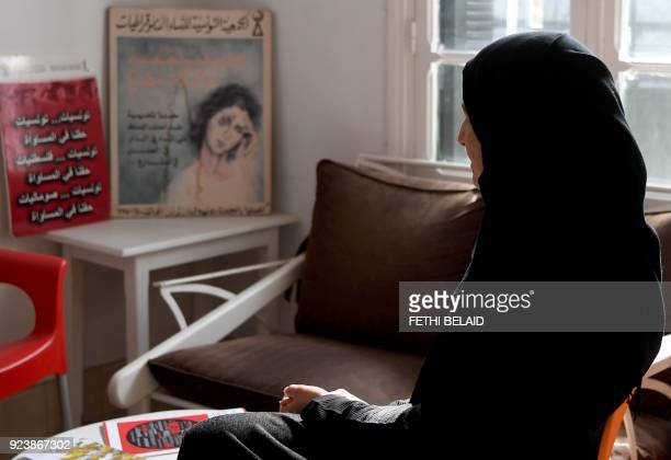 Sameh a mother of two who suffered psychological abuse at the hand of her husband speaks to a reporter in Tunis on February 20 2018 During 15 years...