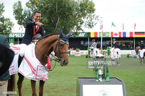 Sameh El Dahan of Egypt riding Suma's Zorro winds in the individual jumping equestrian on the final day of the Masters tournament at Spruce Meadows...