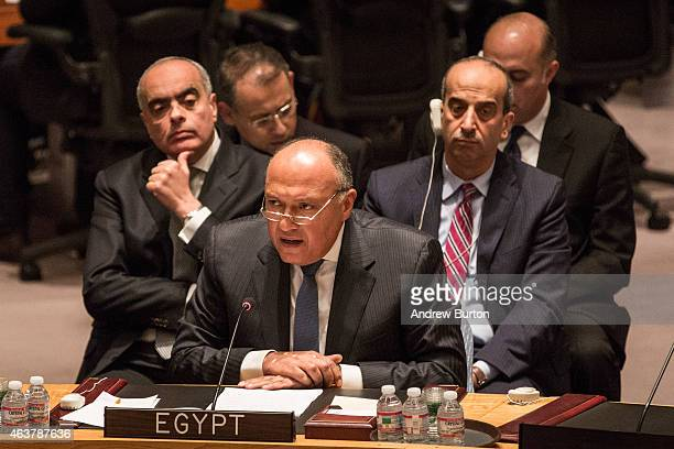 Sameh Shoukry, Foreign Minister of Egpyt, speaks to the United Nations Security Council on February 18, 2015 in New York City. The Security Council...