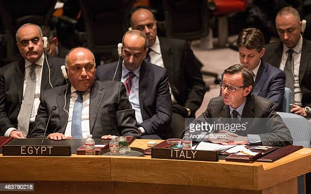 Sameh Shoukry Foreign Minister of Egypt and Sebastiano Cardi Italian Ambassador to the United Nations address the United Nations Security Council on...