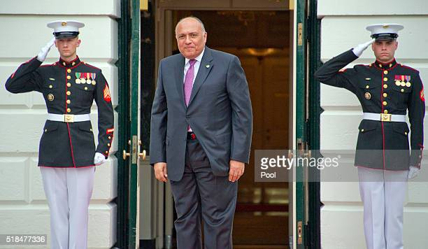 Sameh Shoukry, Minister of Foreign Affairs of the Arab Republic of Egypt arrives for the working dinner for the heads of delegations at the Nuclear...