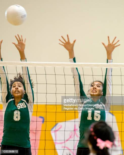 Samelys Lopez left and Adabella Ruiz of Saddleback go for the ball in a girls volleyball game against Godinez ///ADDITIONAL INFORMATION...