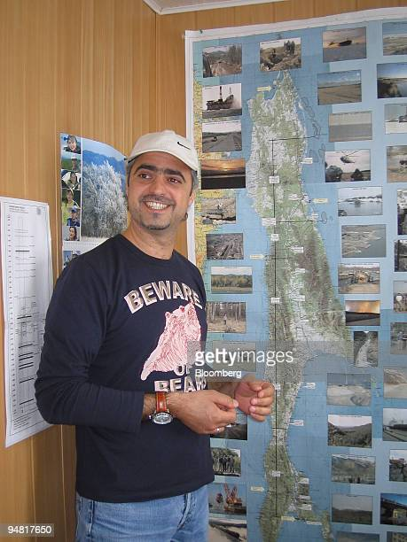 Samer Slim Sakhalin Energy Investment Co supervising engineer points out obstacles along an 800kilometer pipeline map in his office at the Sokol camp...