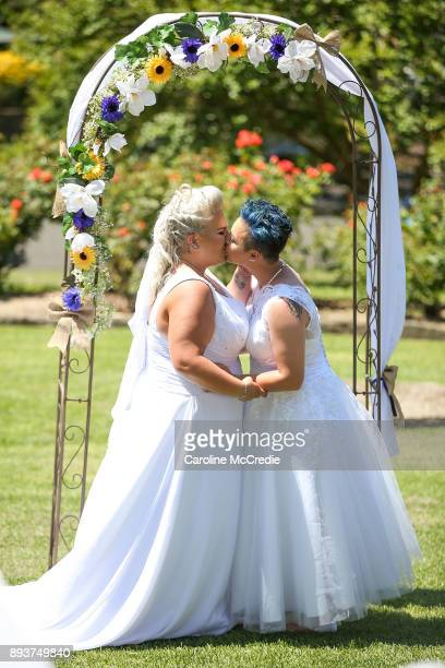 Samesex couple Amy Laker and Lauren Price kiss during their wedding ceremony on December 16 2017 in Sydney Australia Lauren and Amy are the first gay...