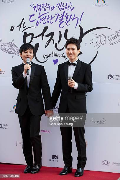 Samesex couple Kim Jho GwangSoo and Kim SeungHwan attend their marriage press conference on September 7 2013 in Seoul South Korea