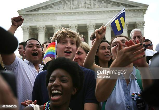 Samesex marriage supporters rejoice after the US Supreme Court hands down a ruling regarding samesex marriage June 26 2015 outside the Supreme Court...