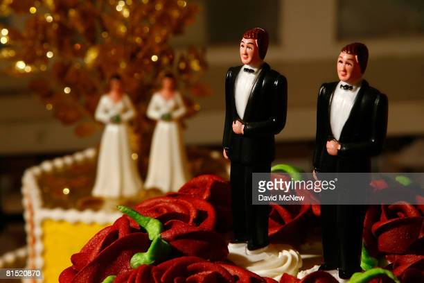 Samesex wedding cake topper figurines are seen at Cake and Art cake decorators June 10 2008 in West Hollywood California Business is increasing...