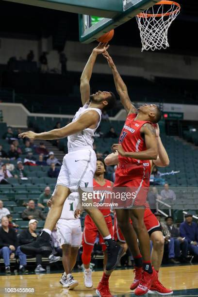Samford Bulldogs forward Robert Allen defends the shot of Cleveland State Vikings forward Jaalam Hill during the second half of the college...