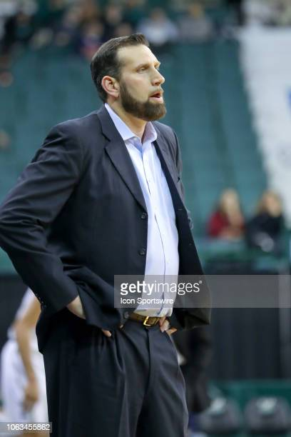 Samford Bulldogs head coach Scott Padgett on the sideline during the first half of the college basketball game between the Samford Bulldogs and...